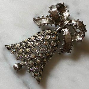 Vintage MYLU Aurora Borealis Christmas Bell Brooch